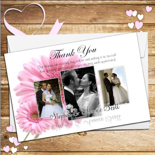 10 Personalised Pink Gerbera Wedding Thank you Photo cards N39